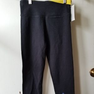 """DKNY Sport Black 7/8"""" Leggings with Yellow Accent"""